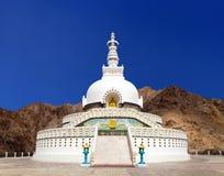 Tall Shanti Stupa near Leh, Ladakh, Jammu and Kashmir Royalty Free Stock Photo