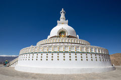 Tall Shanti Stupa near Leh, Ladakh, Jammu and Kashmir, India Royalty Free Stock Photography