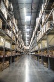 Tall Shelves in a Warehouse. Tall shelves in a well-organized warehouse Royalty Free Stock Image