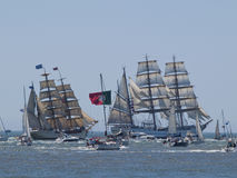 Tall Ship 2012 race in Tagus river. Tall Ship race 2012 departing Lisbon city, Portugal. The ships sale along the Tagus river on the 22nd July 2012 when Royalty Free Stock Photo