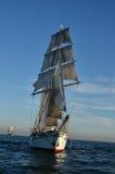 Tall Ship. Sailing with full sail at sea Stock Photos