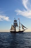 Tall Ship. With full sail at late afternoon Royalty Free Stock Photo