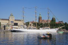 Tall Ship. Docked at Szczecin waterfront, Poland Stock Image