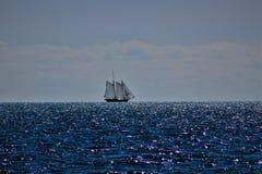 Tall Ship in the Bahamas. Tall ship sailing North on the Great Bahama Bank off Big Majors Spot Stock Photo
