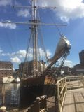 Tall ship with the  blue sky. Tall ship at Gloucester docks Stock Photo