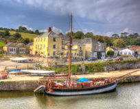 Tall ship Charlestown harbour near St Austell Cornwall England UK in HDR like painting. Tall ship Charlestown harbour near St Austell Cornwall England UK in Stock Images