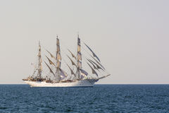Tall ship Christian Radich sailing. Christian Radich, a Norwegian three-masted full-rigged ship at full sail in Souther Baltic sea. The Tall Ships' Races 2013 Royalty Free Stock Photos