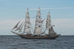 Tall Ship. Danish tallship Georg Stage on her way from Gdynia, Poland to Saint Petersburg, Russia Stock Images
