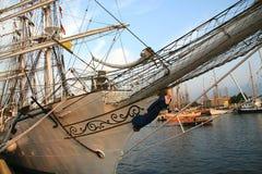 Tall ship. Detail of old sailing ship stock photos