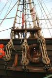 Tall ship. Detail of old sailing ship stock image