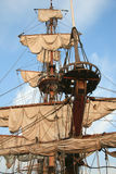 Tall ship. Detail of old sailing ship. Mast of a ship with furled sails detail Royalty Free Stock Image