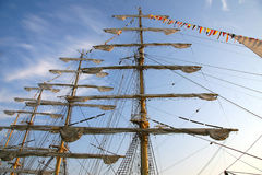 Tall ship. Detail of old sailing ship. Mast of a ship with furled sails detail Royalty Free Stock Photos