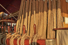 Tall ship details. A vision of an ancient tall ship with ropes and knots for the sails Royalty Free Stock Image