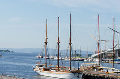 Tall Ship at dock in Akerbrygge, Oslo Stock Image