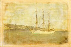 Tall ship. Dublin. Ireland. Tall ship Danmark arriving to Dublin port and Howth costline. Ireland. Vintage style series stock images