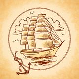 Tall ship emblem Stock Photos