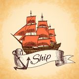 Tall ship emblem Royalty Free Stock Photos