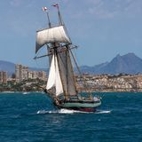 Tall Ship Full Sail Two Masted Schooner stock photo