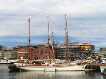 Tall ship in the harbor in Oslo Royalty Free Stock Image