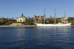 Tall ship in harbor. At Skeppsholmen in Stockholm Stock Image