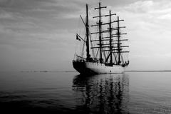 Tall Ship On The High Seas. A Tall Ship anchors in the bay around the Ballestas Islands near the town of Paracas. Ica Region, Peru, South America Stock Photography