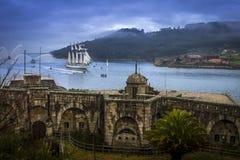 Tall Ship Juan Sebastian Elcano Arrival to Ferrol Galicia Spain royalty free stock image