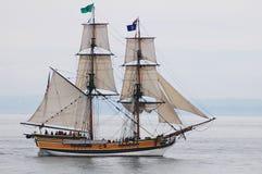 Tall Ship lady Washington. The tall ship, lady Washington on a foggy morning, Tacoma, Washington Stock Photos