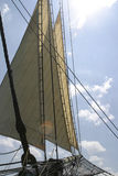 Tall Ship Lines. Head sails on the Friendship of Salem Royalty Free Stock Photo