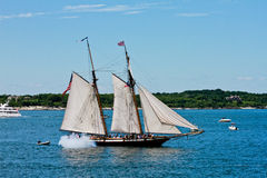 Tall Ship Lynx fires it cannon Stock Image
