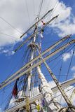 Tall Ship Mast. Lowered sails and rigging of the sailing ship Royalty Free Stock Photo