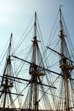 Tall Ship Mast. Close-up of tall ship's mast against the blue sky stock photo