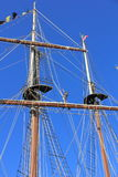 Tall Ship Mast & Crew. Here we can see a crew member working the mast, ropes & riggings. The tall ships arrive here in Hamilton Ontario as a summer annual event Royalty Free Stock Photography