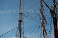 Tall ship masts. Towards a blue sky Royalty Free Stock Photography