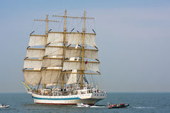 Tall ship Mir under full sail stock images