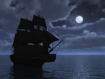 Tall Ship in Moonlight. 3d render Royalty Free Stock Photography