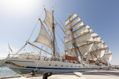 Tall Ship Moored at Full Sail Stock Image