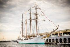 Tall ship moored in Havana, Cuba harbor Royalty Free Stock Photos