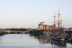Tall ship moored on the river. Tall ship moored on the river in stockton on tees Royalty Free Stock Photography