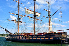Tall ship. Oliver Hazard Perry, docked at Fort Adams Newport Rhode Island. This replica is used as a sailing training vessel royalty free stock photos