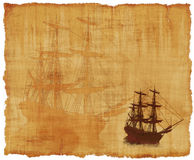 Tall Ship Parchment. An old worn parchment with a tall ships theme - 3d renders with digital painting Stock Photography