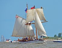 The Tall Ship Pathfinder. This vessel is a brigantine, which is a two masted square rigged sailing vessel stock photography