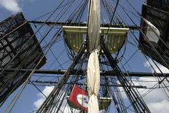 Tall Ship Rigging. Rigging of the Friendship of Salem Stock Images