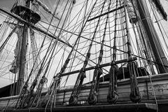 Tall Ship Rigging. Black and white photo of the masts and rigging of the tall ship U.S. Brig Niagara Stock Image