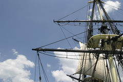 Tall Ship Rigging & Sails. Sails and rigging on the Friendship of Salem Royalty Free Stock Image