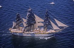 100 tall ship sailing down the Hudson River during the 100 year celebration for the Statue of Liberty, July 4, 1986 Royalty Free Stock Image
