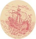 Tall Ship Sailing Stormy Sea Oval Drawing Royalty Free Stock Photo