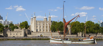 Tall Ship Sailing By the Tower of London Stock Photo