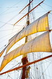 Tall Ship Sails. The sun shinning behind the tall ship mask, sails and riggings at the annual Festival of the Sails in San Diego, California Stock Photo