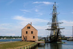 Tall Ship in Salem Harbor. Historic tall ship in Salem Harbor Massachusetts Royalty Free Stock Photo