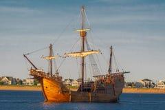 Tall Ship. Santa Maria tall ship travel sail Newburyport Spain cruise salt water ocean going stock image
